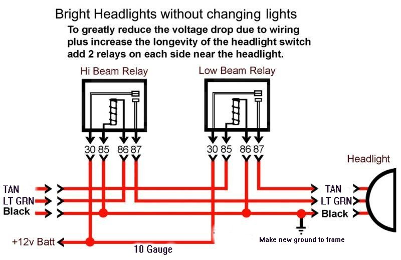 CorvetteHeadlightMod here is headlight relay wiring diagram corvetteforum chevrolet GM Headlight Relay Location at gsmx.co